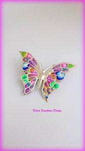 Spilla colorata farfalla in fimo, regalo mamma, con murrine, fiori, idee regalo donna, regalo compleanno, esclusivo, regali per lei