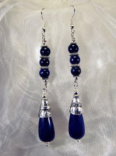 Orecchini in stile etnico con agata blu (OR18)