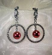Orecchini placcati in argento con strass e perla Swarovski (OR50)