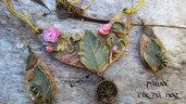 Set parure collana e orecchini verde foresta pasta polimerica gioielli bigiotteria artigianale