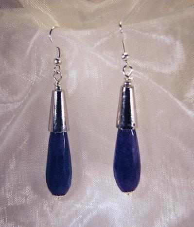 Orecchini pendenti placcato argento con goccia agata blu (Or65)