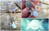 Collana triplice luna opale acciaio intreccio tecnica wire lune fluorescenti gioielli artigianali idea regalo