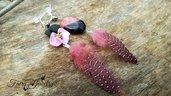 Orecchini viola del pensiero agata fucsia nero gioielli artigianali bigiotteria fatto a mano