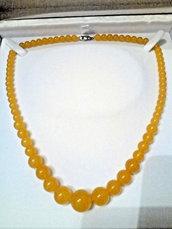 Collana donna in vero topazio giallo pietra dura naturale perle graduate 6-14 mm chakra cristalloterapia