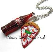 Collana Pizza Margherita e Cola - Bibita - Miniature in fimo - Collane kawaii - idea regalo