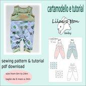 cartamodello pdf salopette bimbo jersey da 0 mesi a 24 mesi unisex con istruzioni