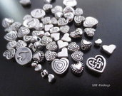 "LOTTO 20 Charm/distanziatori ""MIX <3""  color argento (cod. new)"