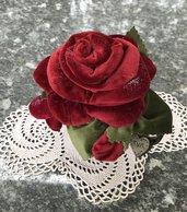 Vaso - tazza con rosa in velluto e cuore TVB