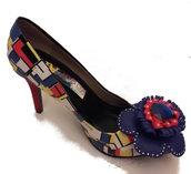 Scarpa dècolletè in dècoupage. Modello: Mondrian