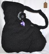 Borsa monomanico in stoffa di merletto nera