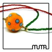 Collana perline di conteria e murrina in vetro di Murano