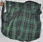 Borsa a spalla in stoffa scozzese verde