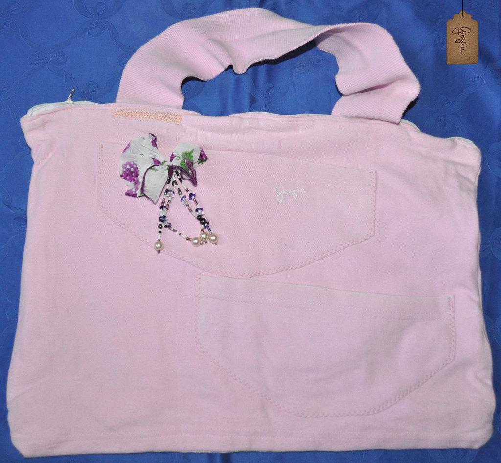 Borsa maxi in cotone rosa