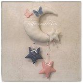 Fiocco nascita luna per gemelli in cotone bianco con stelle e farfalle rosa e blu