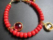 braccialetto perline rosse