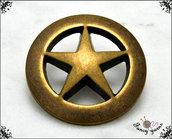 Bottone in metallo, motivo stella, colore bronzo, mm. 23, attaccatura con gambo -  5 pezzi