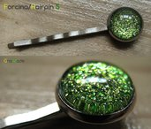 FORCINA PER CAPELLI BASIC 5 - con cabochon glitter oro e verde