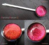 FORCINA PER CAPELLI BASIC 2 - con cabochon bicromatico rosso ciliegia  e arancio