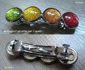 FERMAGLIO PER CAPELLI 1 - cabochon glitter multicolori
