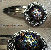CLIP PER CAPELLI DECO 2 - cabochon glitter flakies multicolore