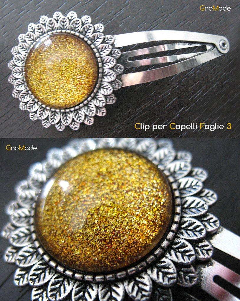 CLIP PER CAPELLI FOGLIE 3 - cabochon glitter giallo oro