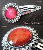 CLIP PER CAPELLI FOGLIE 4 - cabochon glitter rosso ciliegia e arancio