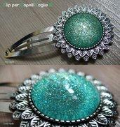 CLIP PER CAPELLI FOGLIE 5 - cabochon glitter verde menta