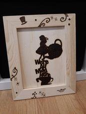 quadro in legno Alice nel paese delle meraviglie