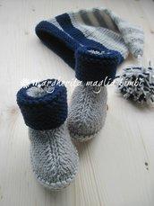 Stivaletti/scarpine neonato pura lana merino - fatte a mano - maglia - baby shower