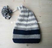 Berretto/cappello a punta + nappina neonato/bambino pura lana fatto a mano