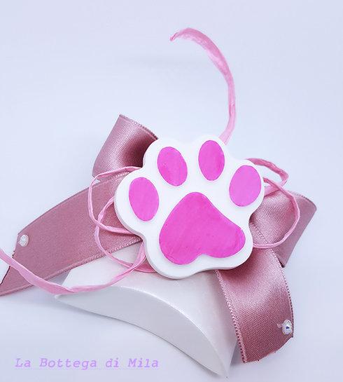 Bomboniera scatolina con zampina rosa, battesimo, comunione, cresima, matrimonio, animali, gatto, cane, bomboniere