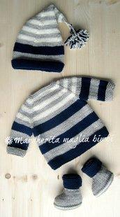 Completo neonato cardigan/cappello/stivaletti - pura lana - fatto a mano