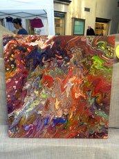 Quadro 50 x 50 Pouring Painting