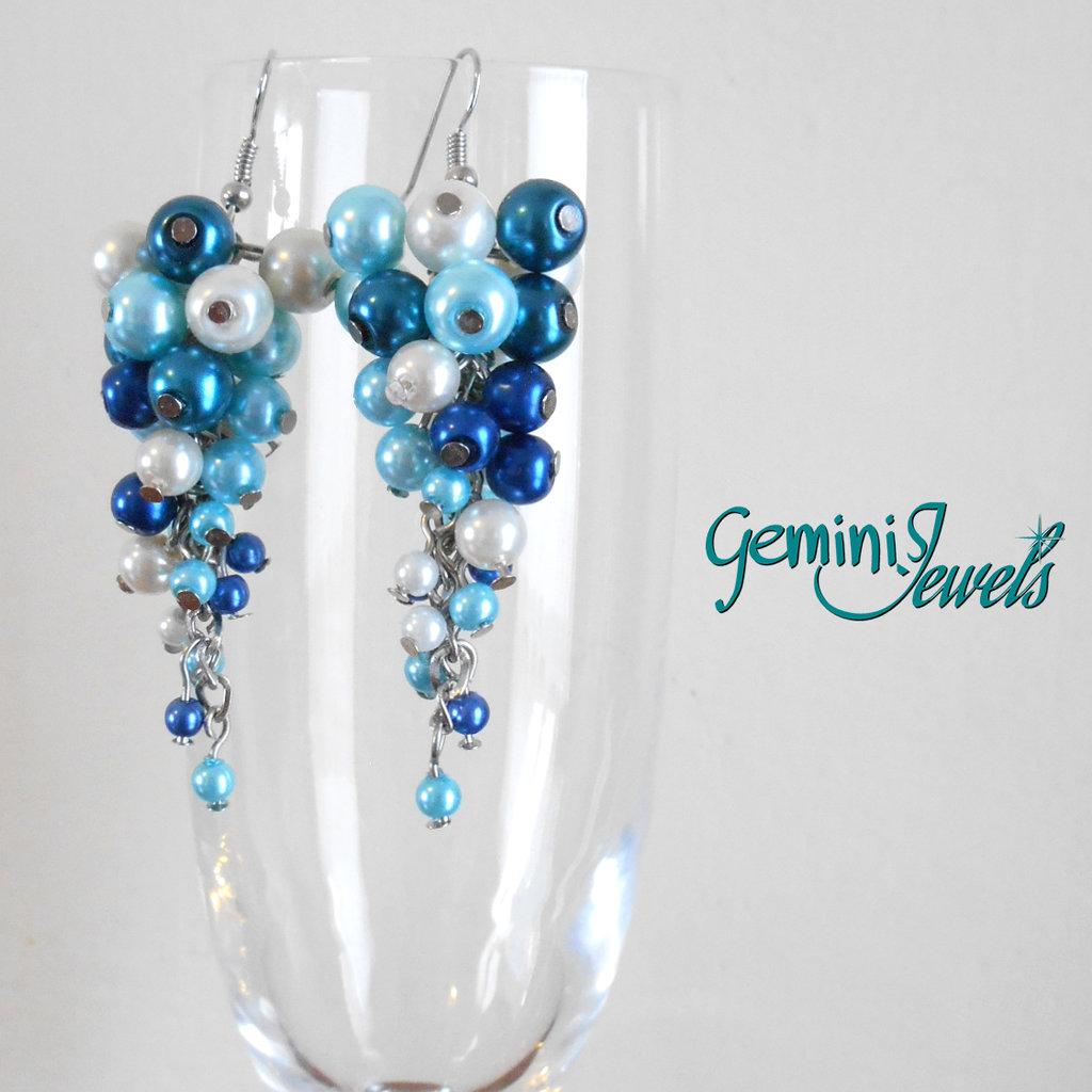 Orecchini grappolo di perle Sky Blue