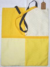 Borsa patchwork in tela blu e gialla