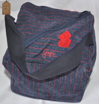 Borsa cubo a braccio in jeans a righe rosse