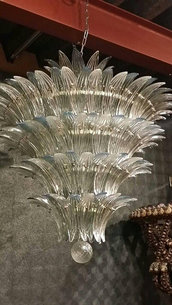Lampadario, in vetro soffiato di Murano, color trasparente e oro e pezzi di ricambio per lampadari di Venini, Maria Teresa, Mazzega, con pezzi rotti, personalizzabili