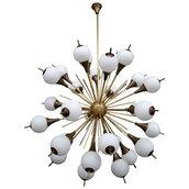 Lampadario Sputnik, con globi bianchi, in vetro di Murano e pezzi di ricambio per lampadari di Venini, Maria Teresa, Mazzega, Barovier, con pezzi rotti, in vetro, personalizzabili