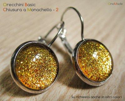 ORECCHINI BASIC A MONACHELLA 2 - in acciaio nichel free + cabochon glitter giallo oro
