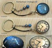 PORTACHIAVI PHONESTRAP OROLOGIO 3 - con cabochon glitter blu argento