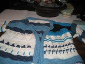 giacca   in lana : bianco blu e azzurri
