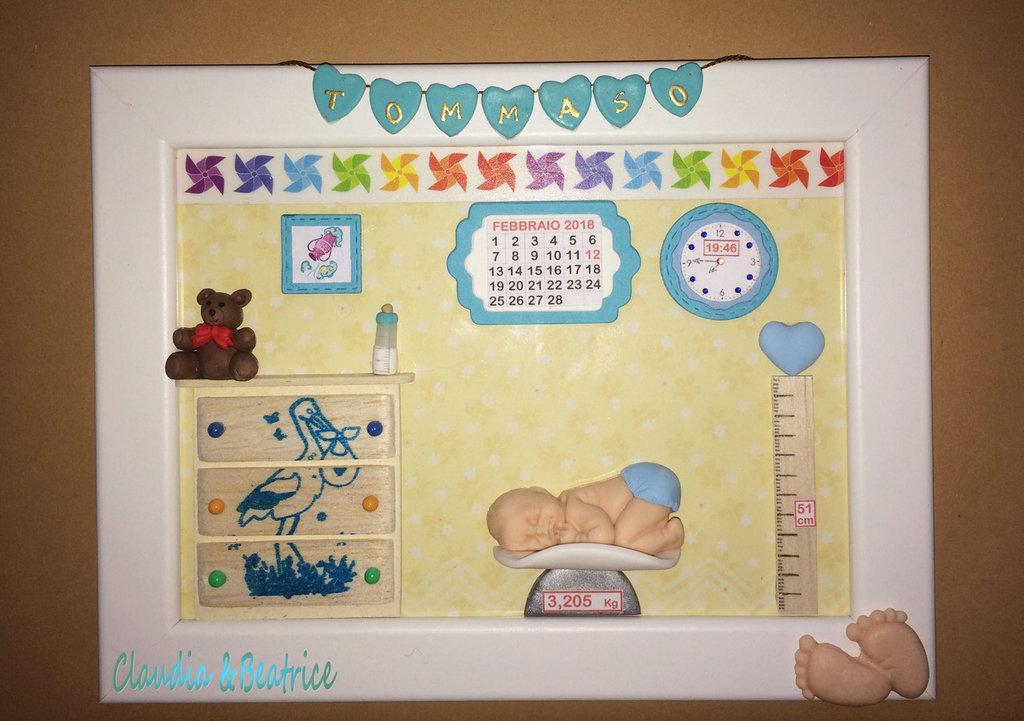 Diversi modelli di quadretto nascita decorati a mano in fimo balsa e cartoncino. Idea regalo.