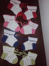 Calzine Scarpine per neonato / neonato all'uncinetto 109% cotone idea regalo mamma e bambino