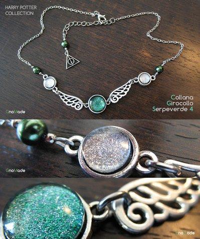 COLLANA GIROCOLLO COLLEZIONE HARRY POTTER SERPEVERDE 4 - con cabochon glitter verde argento