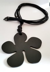 Long necklace pendant black metal flower