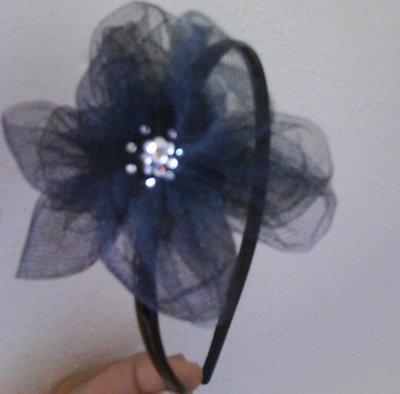 cerchietto capelli hairband tulle e strass