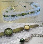 COLLARINO / CHOKER / COLLANA PIZZO 2 - con pizzo bianco e cabochon oro e verde oliva