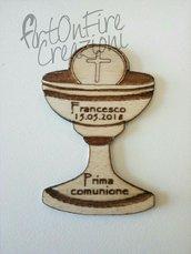 Bomboniera calamita comunione calice in legno con incisione personalizzata