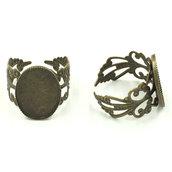 4 basi per anello 18x13mm bronzo