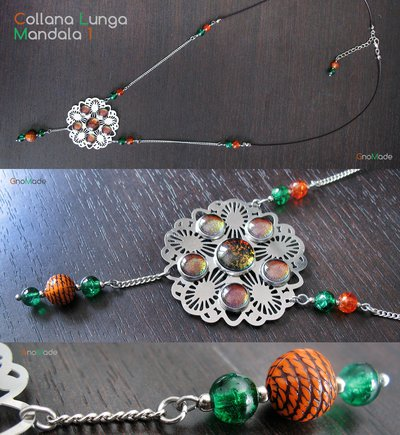 COLLANA LUNGA MANDALA 1  - con cabochon glitter arancio e verde
